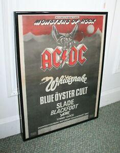 ACDC Whitesnake Monsters Of Rock framed vintage 1981