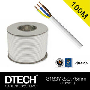 3 Core 0.75mm 6 Amp PVC Flexible Cable 100m Round Flex Electrical Wire WHITE