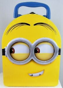 Despicable Me MINION HEAD Tin Carry All Lunch Box Case SIDEWAYS DAVE new