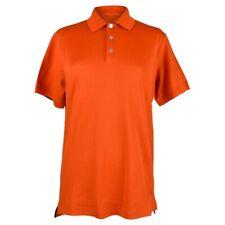 Hermes Men's Polo Style Orange Feu w/ Navy Edging Short Sleeve M New