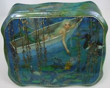 "One of a Kind Fedoskino Russian Lacquer Box ""Mermaid in a Pond"" by Maslov"