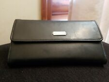 Espirit Women's Faux Leather Black Full Wallet Check book Card outside zip pocke