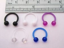 5 Pc Bioplast Plastic Flexible Metal Sensitive Horseshoes Balls 16 gauge Rings