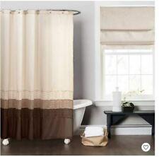 Lush Decor! Mia Wheat/Tan/Cocoa Color Block Pintuck Shower Curtain Never Used!