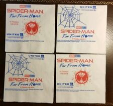 Spider-Man Far From Home United Airlines napkin lot of 4,rare Airline promo only