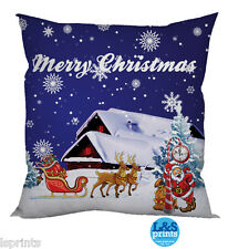 FESTIVE SANTAS SLEIGH DESIGN 2 BLUE CUSHION CHRISTMAS GIFT IDEA HOME DECOR
