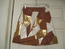 & Other Stories Rodarte Patchwork Leather Skirt Size 4  white camel brown gold