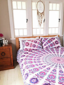 Indian Cotton Bed Cover Set With Two Pillow Case Mandala Bedspread Queen Size