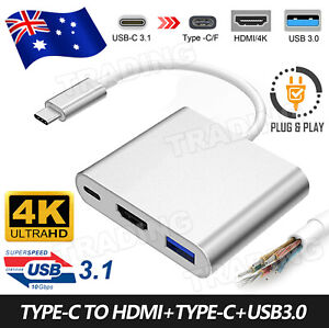 Type C to USB-C HDMI USB 3.0 Adapter Converter Cable 3 in 1 Hub For MacBook Air