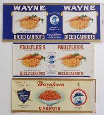 3 Vintage Diced Carrots Can Labels Wayne Faultless Burnham Brands