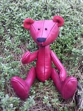 Collectors Red waxy real leather Ooak Teddy Bear. Jointed. Valentino