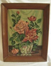 "Vintage 1951 Framed ROSES IN A VASE Paint By Numbers Painting ""LOVE'S TRIBUTE"""
