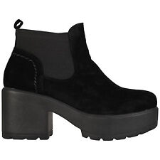 Womens Girls Kids Chunky Sole Casual Ankle Chelsea Shoes BOOTS Sizes 10-8 Black Suede UK 5 EU 38