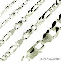 Real Solid Sterling Silver Mens Boys Figaro Bracelet or Necklace Rhodium Finish