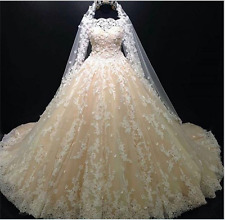 Luxury Ball Gown Champagne Wedding Dresses Lace Appliques Bridal Gowns Custom