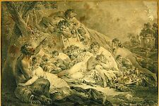 FAUN AND NYMPHS. ENGRAVEDD ON PAPER. JEAN DAULLÉ. FRANCE. 1703-17063.