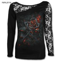 SPIRAL DIRECT Ladies Black Goth BURNT ROSE Fire Lace Top L/Sleeve All Sizes
