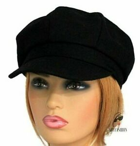 Women's Baker Boy Hat Ladies Cap Black Felt Wool Blend 8 Panel UK Stock