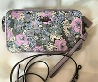 New Coach Kira Crossbody With Heritage Floral Print Pewter/Soft Lilac Multi