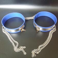 COMPLETA cintura di castità Gamba Bande blu con catene, 40 - 45 cm, acciaio inox
