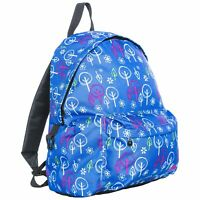Trespass Britt Girls Boys School Backpack Blue Rucksack With Tree Print 16 Litre