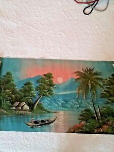 "Vintage Indonesian Oil Painting on vintage flour sack 18""x 33"" unframed"