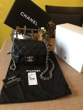 Authentic Chanel Black Chain -Around Messenger Bag (Cross Body )With Silver HW