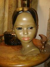 CERAMIC HEAD BUST BLACK HAIR WOMAN FEMALE GIRL ESCO EYES