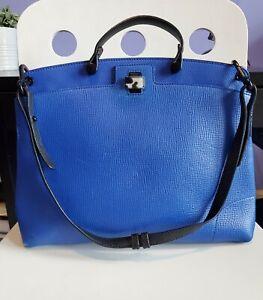 Furla Piper Ladies Large Leather Top Handle Satchel Bag Indigo Blue Black