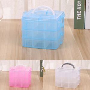 3 Layer Clear Plastic Jewelry Bead Storage Box Container Organizer Case  Craft