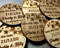 Wooden Save the Date Personalised Engraved Rustic Disc Fridge Magnets Wedding