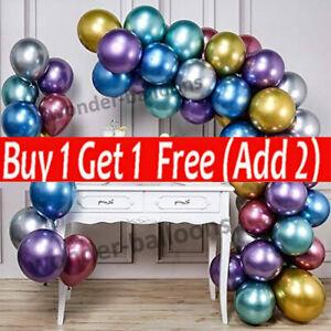 "Chrome Metallic Balloons 12"" inch Birthday Party Wedding Baby Shower Decors"