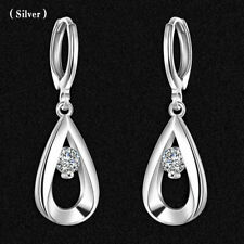 1Pair Fashion 925 Silver Crystal Earrings Wedding Party Women Lady Jewelry Gift