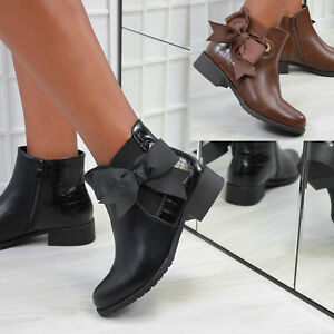 New Womens Side Bow Almond Toe Ankle Boot Shoes Sizes 3-8