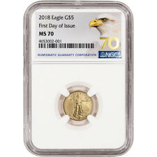 2018 American Gold Eagle (1/10 oz) $5 - NGC MS70 First Day of Issue Grade 70