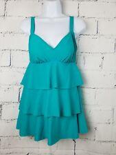 Paradise Bay one piece swimsuit swim dress size 8 Blue tiered layers New O2