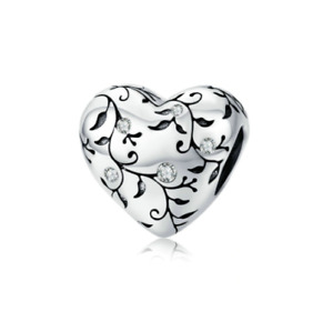 SOLID Sterling Silver Sparkling Floral Vine Heart Charm by Pandora's Wish