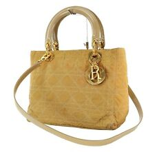Authentic CHRISTIAN DIOR Beige Quilted Nylon Lady Dior Handbag Purse #35868C