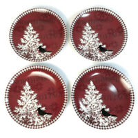 222 Fifth Northwood Cottage 4 Dessert Plates Coupe Shape Christmas Bird in Tree