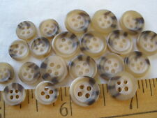 Horn Effect Shirt buttons set 18L/14L 11MM/8.5MM 4-Hole Beige Brown 31pcs 7/16""