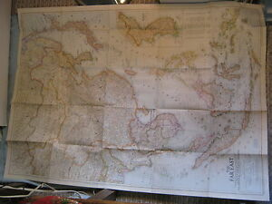 VINTAGE THE FAR EAST LARGE WALL MAP National Geographic September 1952