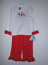 New Girls Elf On The Shelf 2 Pc Smocked Outfit Christmas Holiday Boutique Sz 4T