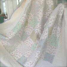 Double Queen Bed Quilt Vintage Shabby Cottage Rose Pink Mint Blue Patchwork Chic