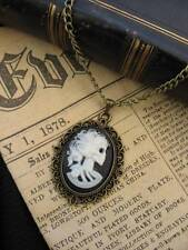 Vintage Gothic Steampunk Skull Skeleton Lady  Cameo Pendant Bronze Necklace WHT