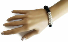 Black Bead Diamante Bracelet Stretch Style with Faceted beads