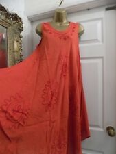 New Ladies Embroidered Detail Boho/Hippy Summer Dress/Beach Cover Up, size 16/18