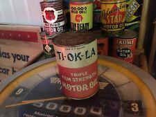 Rare Ti-Ok-La Graphic Quart Motor Oil Can Original Gas Station Plane Sign Old