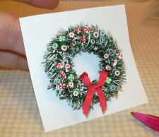 Miniature Green/Red Candy Christmas Wreath w/Red Bow: DOLLHOUSE 1/12 Scale