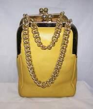 Vtg 1960's Bonnie Cashin Coach Yellow Leather Double Kiss Lock Chains Purse Bag