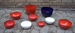 KAJ FRANCK, Finland. 9 bowls, enamelled metal, Finel, Finland, 1950s